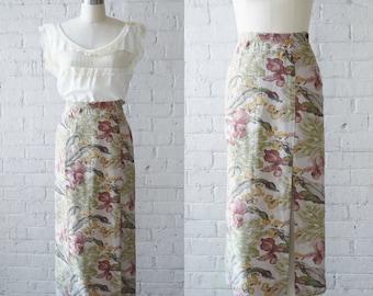"1990s Floral Print Column Skirt by Gap | Size XS | 26"" Waist"