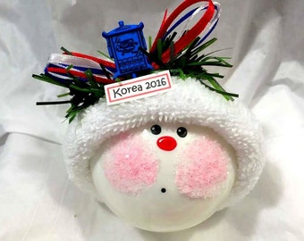 SALE ASIAN Souvenir Christmas Ornament 2017 Korea Sample Lantern Blue Handmade Personalized Themed Townsend Custom Gifts (F) - BR