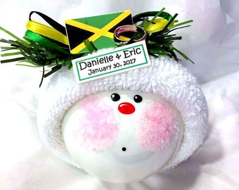 JAMAICAN WEDDING GIFT Ornaments Ring Flag Personalized Name Tag Sample Hand Painted Handmade Themed by Townsend Custom Gifts - F - BackRoom