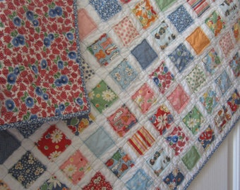 Snippets American Jane  Fray Edge Baby/Toddler Girl Quilt....Ready to Ship