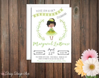 Baby Shower Invitation - Princess Tiana and Laurel in Watercolor Style - Princess and the Frog