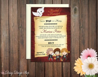 Baby Shower Invitation - Harry Potter Inspired - Antique Scroll with Watercolor Characters
