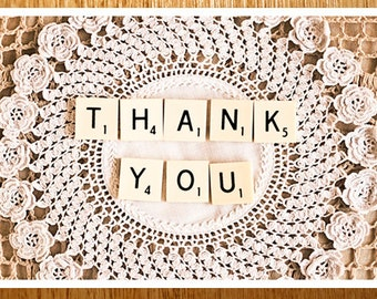 Thank You CARD, Photo Card, Original Photo On a Card. Vintage, Doilie, Scrabble Tiles, Wedding Thank you, Cream, Black