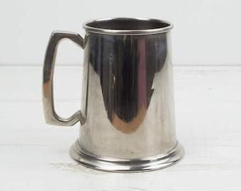 Vintage Silver Plated Tankard - Beer - One Pint - Drinking - Cup - Jug - Pub - Barware - Alcohol - Serving - Display