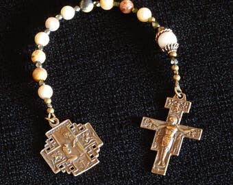 St Francis /Jerusalem cross, One decade Catholic Rosary with San Damiano Crucifix.
