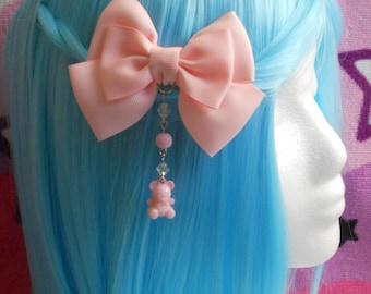 Fairy kei Hair bow with bear and beads hair clip or brooch