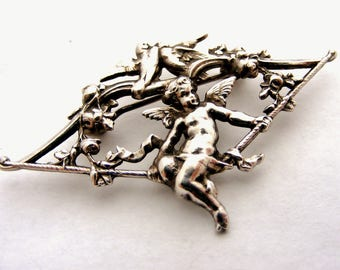 French vintage silver plated cupid brooch with doves