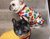 Frenchie French Bulldog Reversible Quilted Coat in Multi-Colored Lions