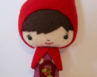 Little Red Riding Hood Sweetest Small Felt Teacup Doll Gingermelon