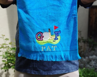 Custom Embroidered Golf Towel, Sport Towel, Personalized gift, Golf bag, Gift for golfer, Custom towel