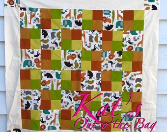 Patchwork Quilt for Baby Shower - Brown and Green Jungle Theme
