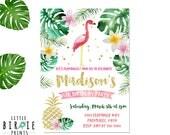 Flamingo Birthday Invitation - Pineapple Birthday Invitation - Gold Flamingo Invitation with Palms - Luau Invitation Gold Pineapple Birthday