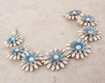 Enamel Flower Bracelet Blue White Kramer Floral Daisies Vintage 081916AL