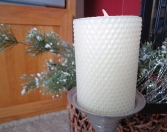 Flameless White Beeswax Candle, White Beeswax Candle, Beeswax Candle, Christmas Beeswax Candle, Christmas Candle, Holiday Beeswax Candle
