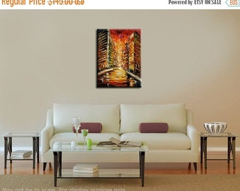 70%OFF ORIGINAL Oil Painting cityscape impasto Palette Knife Textured colorful red street ready to hang canvas painting wall decor ART by Ma