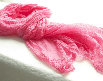 long pink yarrow hand dyed wavy textural cotton gauze scarf with raw edges