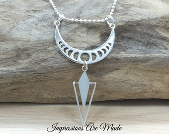 Phases of the Moon Necklace, Moon Necklace, Sterling Silver Necklace, Triangle Necklace