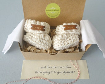 Grandparent Pregnancy Announcement,  BOOTIES IN A BOX®, Baby Reveal, Ribbed Cuffs with Real Leather Tags, Baby Booties,  Baby Reveal Box
