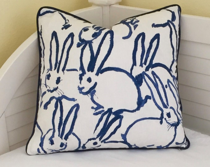 Groundworks Bunny Hutch in Navy on Both Sides Designer Pillow Cover with Choice of Piping Color - Square, Lumbar and Euro Sizes