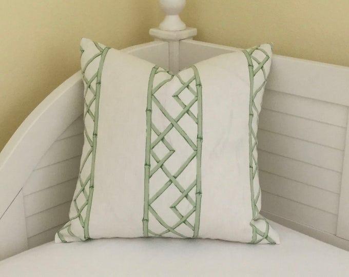 Kravet Latticely in Jade Linen Designer Pillow Cover - Square  and  Euro Sizes