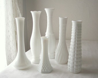 white milk glass assortment instant collection mid century wedding decor