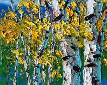 Birch Tree Forest Autumn Landscape Painting Oil on Canvas Textured Palette Knife Modern Original Art 8X10 by Willson Lau
