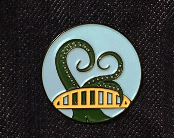 Bridge, Tentacle, Enamel Pin, Pittsburgh, Soft Enamel Pin, Cthulhu, Pin, Accesories