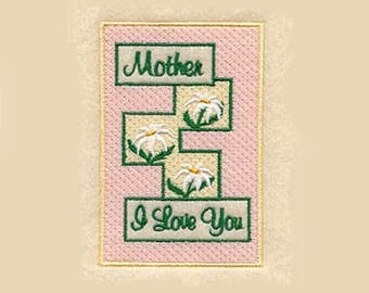 Mother I Love You Tea Towel   Embroidered Kitchen Towel   Embroidered Towel   Embroidered Tea Towel   Personalized Kitchen Towel
