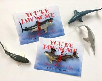 Kids Valentine, Valentine's Day Card, School Valentine, Class Valentine, Valentine's Day Favor, Shark Valentine, Jaws Valentine
