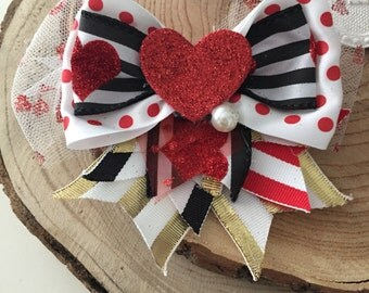 Heart Attack Valentine bow clip, cozette couture, ribbon bow clip, flower headband