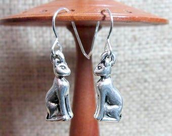 Silver 3D Sitting Cat Dangle Earrings - Drops Dangles jewellery