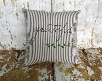 Grateful with Laurel Farmhouse Navy and  ream Ticking Burlap or Cotton Canvas Pillow / Farmhouse Decor Moder Farmhouse Throw Accent Pillow