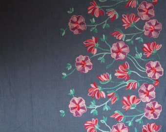 Lightweight Denim Floral Embroidered Border Pure Cotton Fabric--By the Yard
