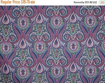 ON SALE Classic Purple with Green Large Overall Paisley Print Stretch Cotton Sateen Fabric--One Yard
