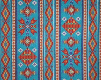 REMNANT--Turquoise and Orange Southwest Tucson Print Pure Cotton Fabric--1.25 YARDS