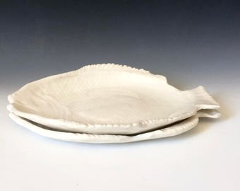 Two White Fish Plates in Porcelain, White Pottery for Kitchen and Dining, Useful Art for your Home