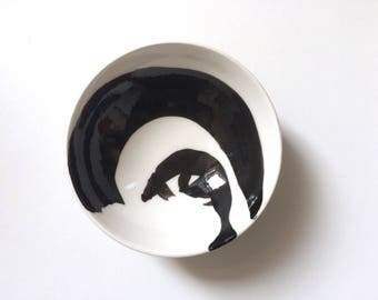Black and White Bowl Abstract Painting on Bowl, Porcelain Bowls for Modern Home Decor