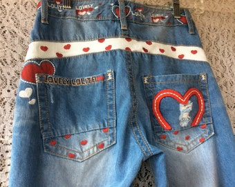 Womens RELEXE Lovely Lolita Jeans embroidered Hearts Sz S