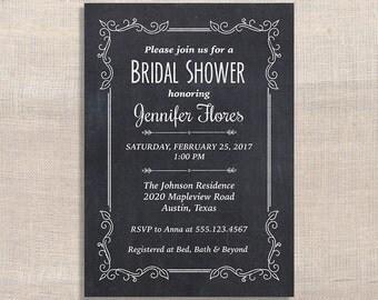 Chalkboard Bridal Shower Invitation, Blackboard Invite, Wedding Shower Invite, DIY PRINTABLE