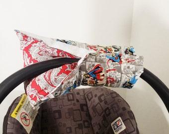 Infant Car Seat ARM PAD, Handle Cover Wrap, Reversible - Super Girl - Wonder Woman - Bat Girl