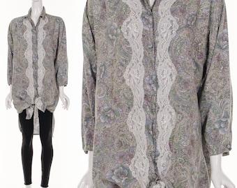 Vintage 90's Pastel Floral Lace Button Down Blouse Slouchy Button Down Dress Victoria's Secret Dress Medium Large