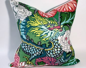 Chiang Mai Dragon 20 inch pillow cover in Jade Schumacher