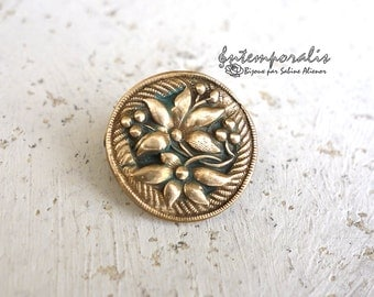 Gold bronze and verdigris resin brooch, OOAK, SABRO07
