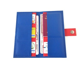 Blue and red travel wallet passport holder, vegan leather document organizer,  travel organizer, large wallet, travel gifts