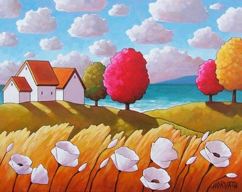 "Art Print Giclee by Cathy Horvath 5""x7"" White Flowers Seaside Trees Landscape, Folk Art Coastal Summer Cottage, Reproduction Seacape Artwork"