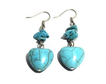 Turquoise Stone Earrings, Women, Heart Shape, Ready To Ship