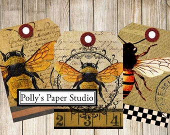 Bees Please Tags  Digital Images Printable Download File 9 Images Polly's Paper Studio