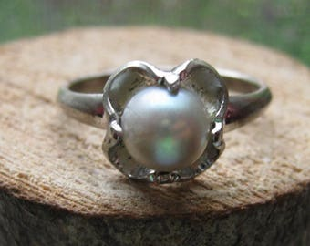 Vintage Sterling Silver Pearl Ring Size 6 1/2 Women's Ladies Ribbon Setting