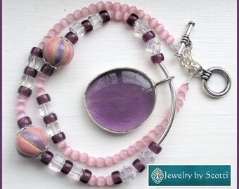 Pink Purple Silver Pendant Statement Necklace, Purple Jewelry, Pink Necklace, Pendant Beaded Necklace, Crystal Jewelry, Funky Necklace