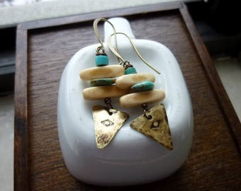 Turquoise Discs and Stamped Brass Triangle Charm Earrings, Bohemian, Boho, Geometric Earrings